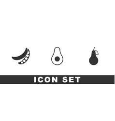 Set green peas avocado fruit and pear icon vector