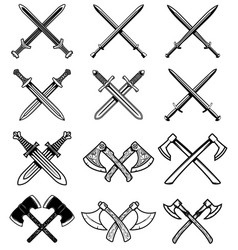 set of ancient weapon knight swords axes design vector image