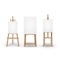 Set of brown sienna wooden easels with mock vector