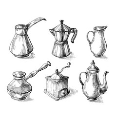 set of coffee pots vector image