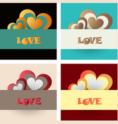 Set of vintage happy valentines day badges and vector