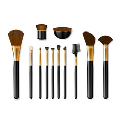 Set professional golden make up brushes vector