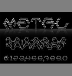 silver hexagon font vector image