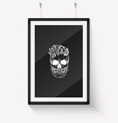 sketch angry skull line art vector image