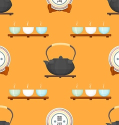 tea puer ceremony seamless pattern vector image