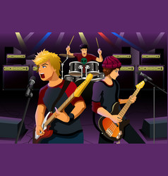 teenagers in a rock band vector image