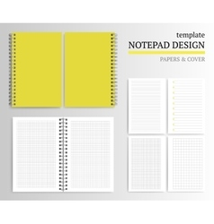 Template of notebook cover and papers vector