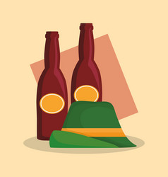 Traditional german hat and beers vector