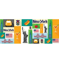 travel and tourism icons New York vector image