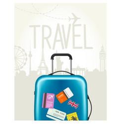travel around the world - modern suitcase vector image