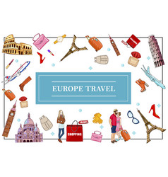 Travel to europe concept vector