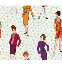 Vintage dressed girl 1960s style retro fashion vector