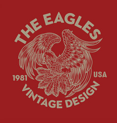 vintage eagle bird wing annimal usa america vector image