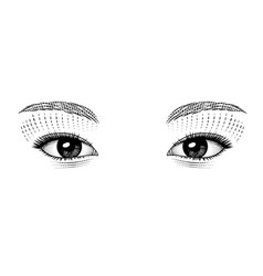 Vintage stylized drawing eastern girl eyes vector