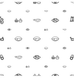 Vision icons pattern seamless white background vector
