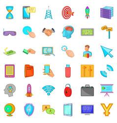 Web site icons set cartoon style vector