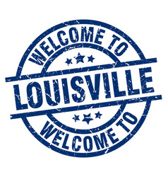 welcome to louisville blue stamp vector image