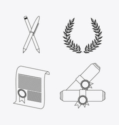 Wreath pencil diploma university icon vector