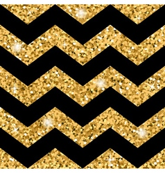 Zigzag seamless pattern Gold glitter and black vector