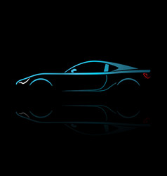 blue sport car silhouette vector image