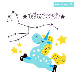 blue unicorn with constellation vector image vector image