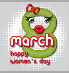 greeting card with 8 march womens day 11 vector image
