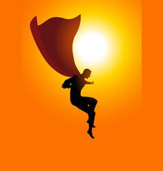 superhero flying at sunrise vector image vector image