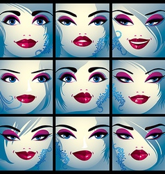 Attractive ladies portraits collection girls with vector image vector image