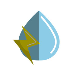 blue water drop with energy sign vector image vector image