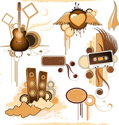 compositions of musical elements vector image