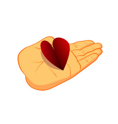 heart on a human palm symbol of love and support vector image