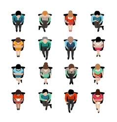 Sitting People Top View vector image