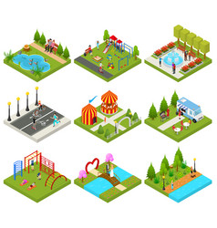 city public park or square objects set icons 3d vector image vector image