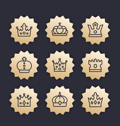 crowns line icons royalty king monarch vector image vector image