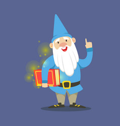 Cute dwarf in a blue clothes standing and holding vector