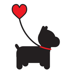 dog and heart vector image vector image
