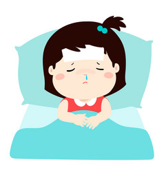 little sick girl in bed cartoon vector image
