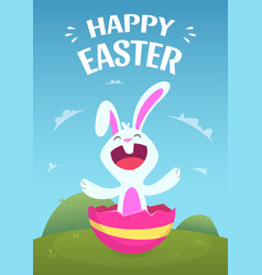 poster template with of easter rabbit vector image vector image