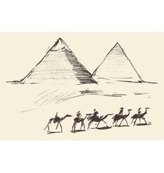 Pyramids Cairo Egypt with Caravan Camels Vintage vector image vector image