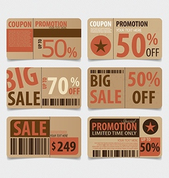 Sale Coupon voucher tag Vintage Style template vector image vector image