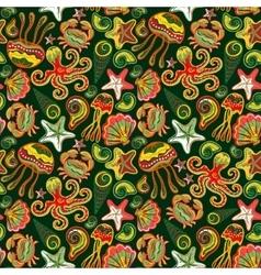 Seamless marine pattern Sea octopus crab vector image