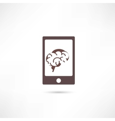 Smartphone with brain on the screen vector image vector image