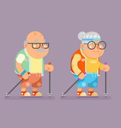 sports healthy grandfather granny active lifestyle vector image vector image