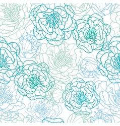 Blue line art flowers seamless pattern background vector