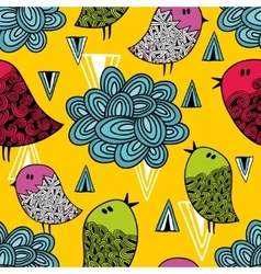 Colorful seamless pattern with cute birds and vector image vector image