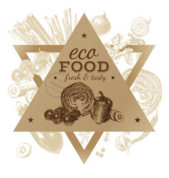 hand drawn eco food background vector image vector image