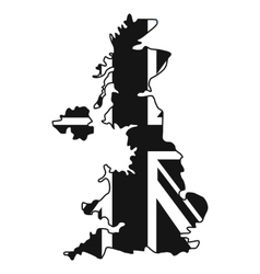 Map of uk of the national flag icon simple style vector
