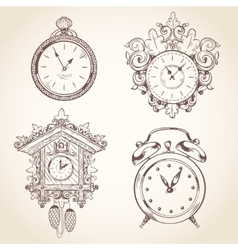 Old vintage clock set vector image