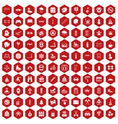 100 children activities icons hexagon red vector image