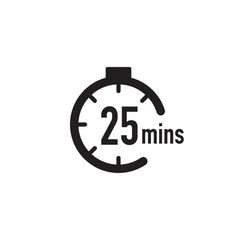 25 minutes timer stopwatch or countdown icon time vector